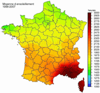 Map of the sunshine of France.