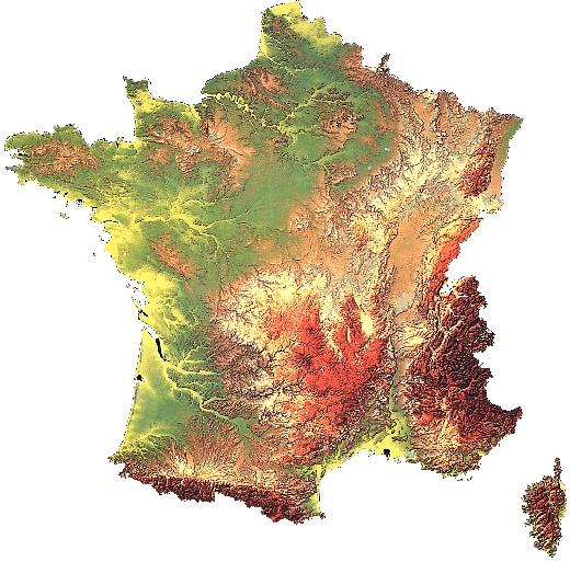 Relief Map of France in 3D.