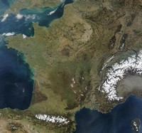 Satellite map of France.