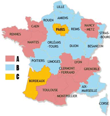 Map cutting school of France.