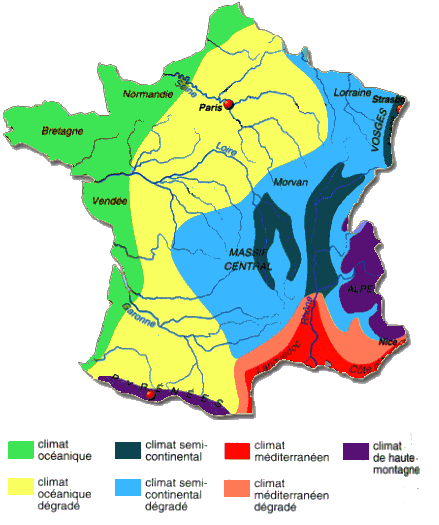 Climate map of France.