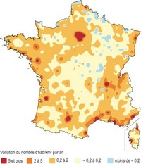 Map of the change in population density.