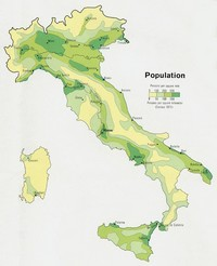 Map of population density of Italy.