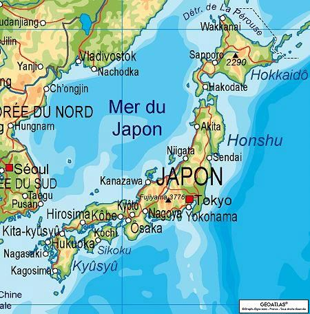 Physical map of Japan.