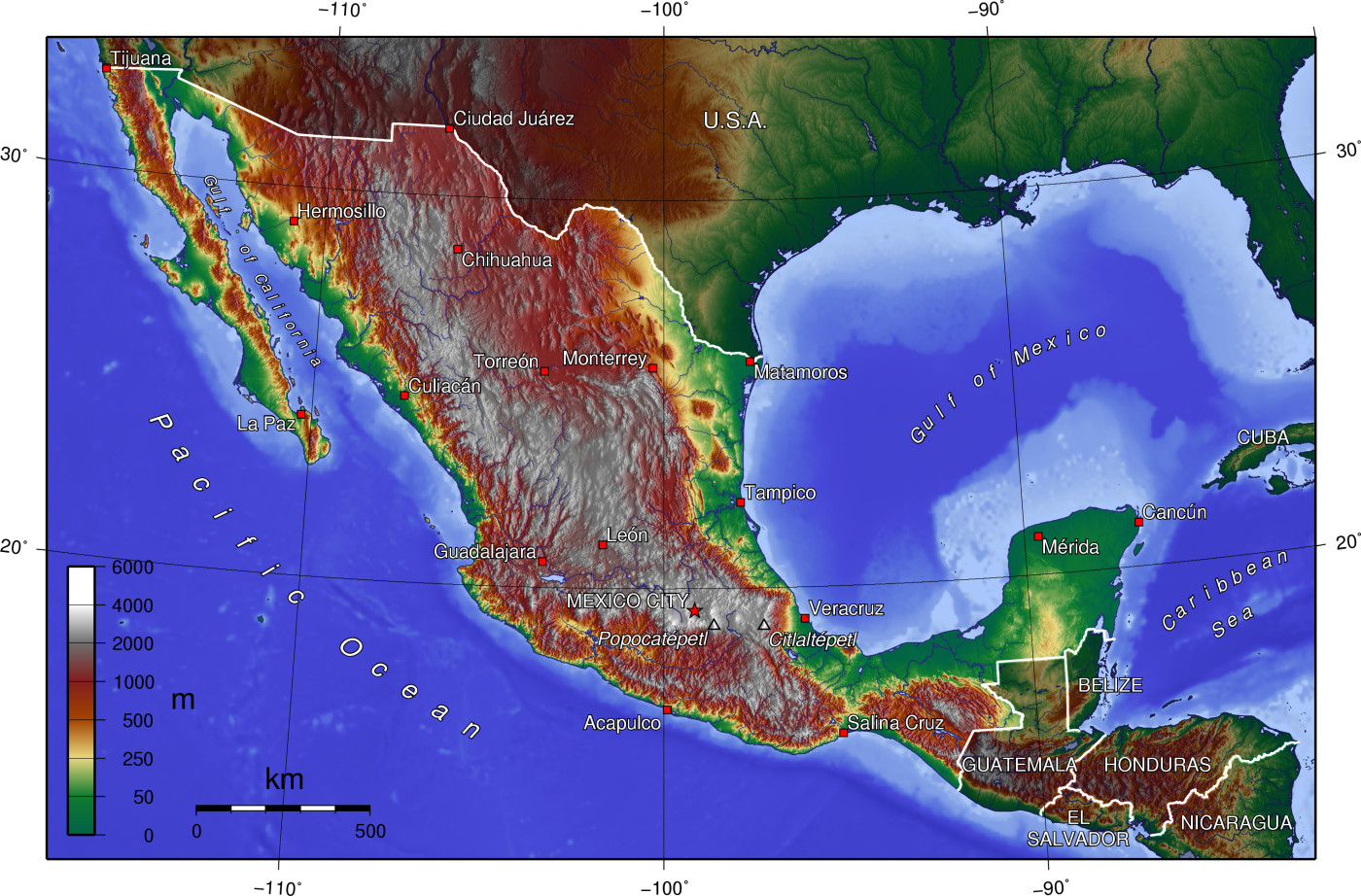relief map of mexico with altitude meter scale and cities