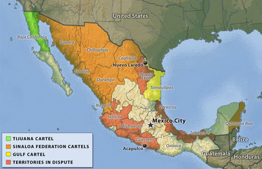 map of mexican cartels