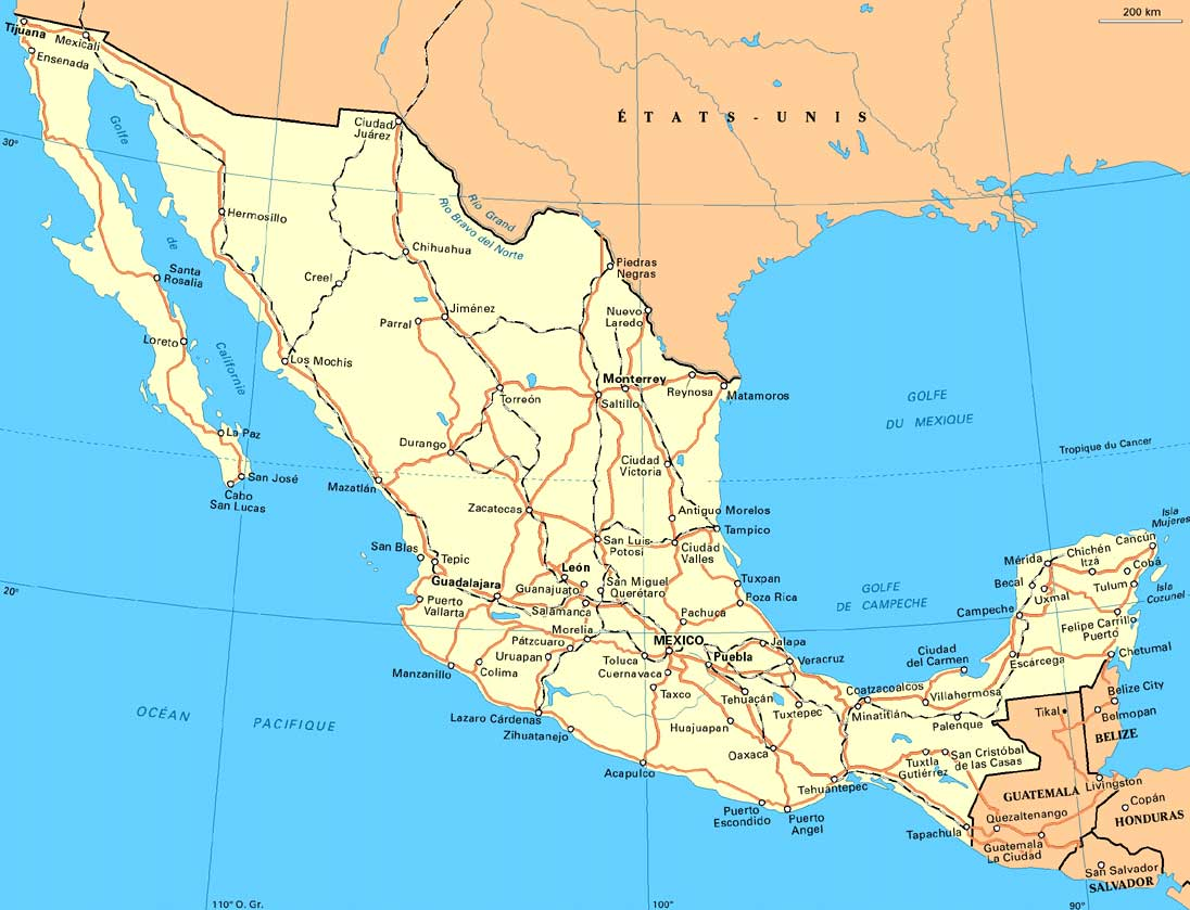WwwMappinet Maps Of Countries Mexico - Mexico road map
