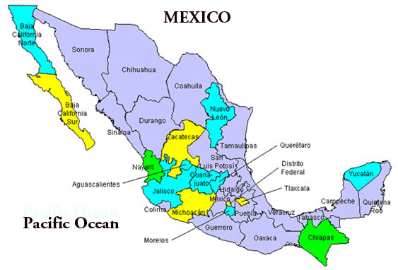 map of regions of mexico