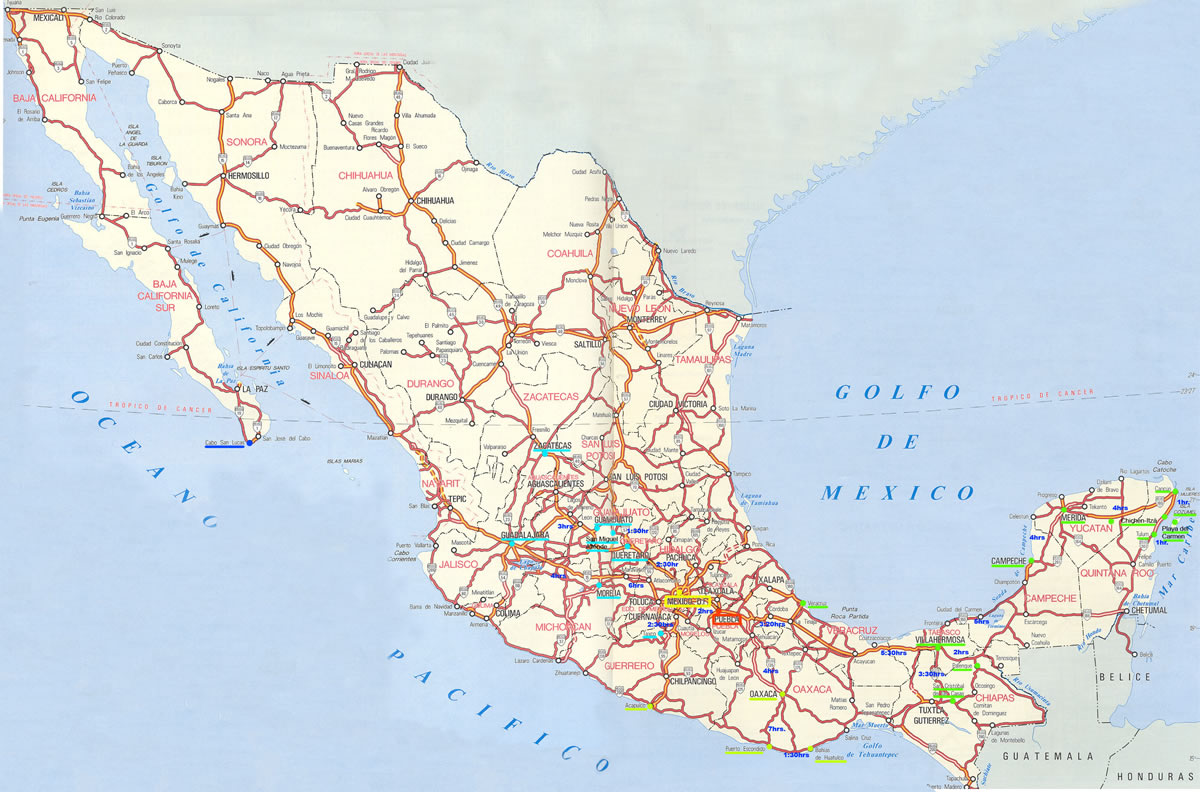 Large map of Mexico with major roads.