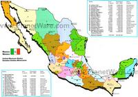 Map with the states of Mexico and information on these states.