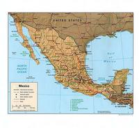 Mexico map with the boundaries between states, capital, roads, railways and scale.