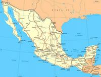 Map of cities in Mexico.