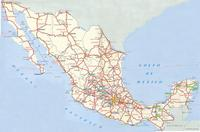 Road map of Mexico.