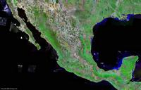 Satellite map of Mexico.