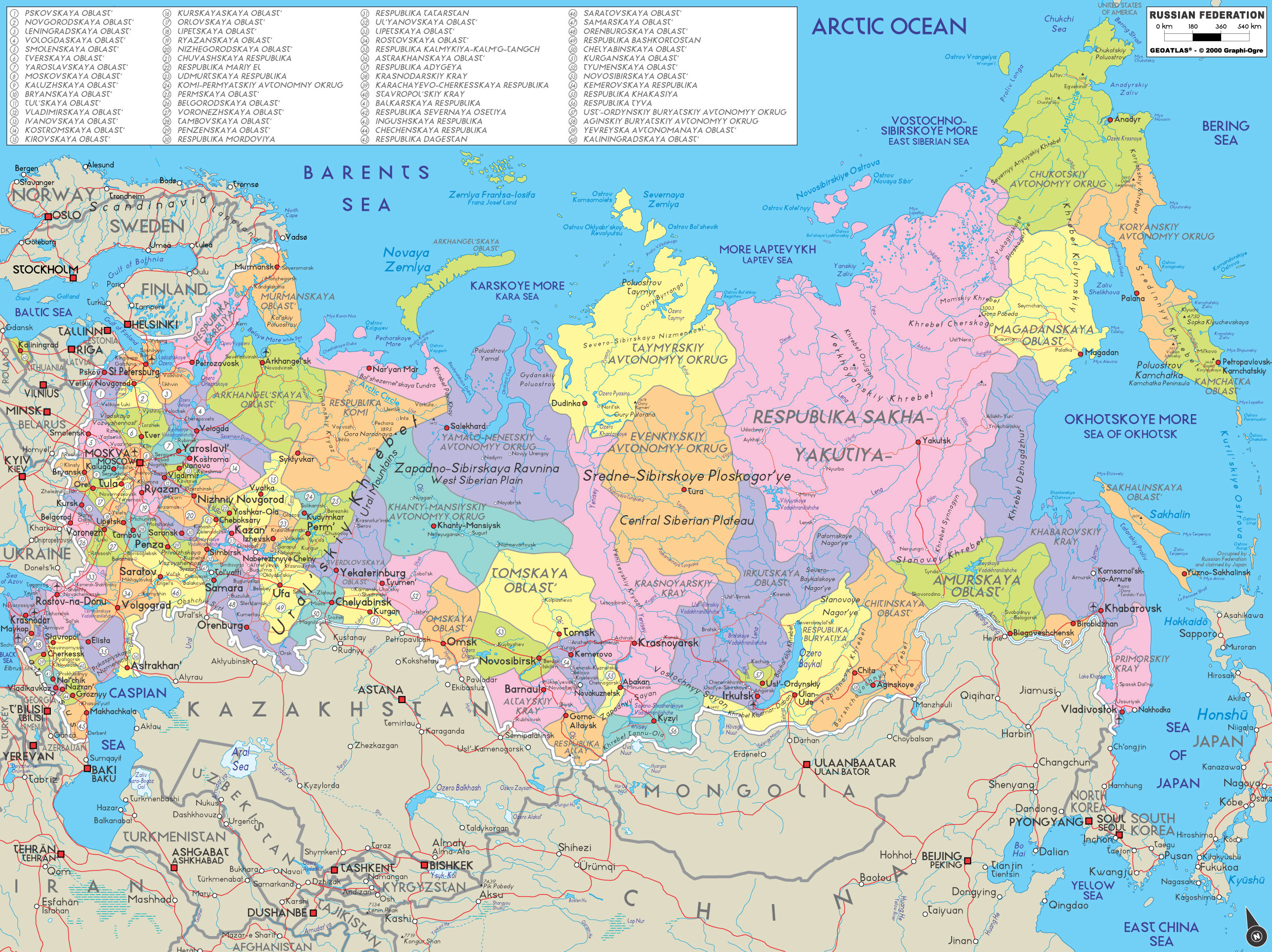 WwwMappinet Maps Of Countries Russia - Map of russia with cities