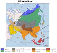 Map climates of Asia and Russia.