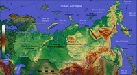 Map of Russia in the altitude meter and scale in km.