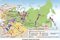 Map of Russia and energy reserves in oil and gas.