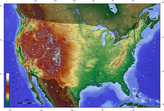 Map of USA with Terrain.
