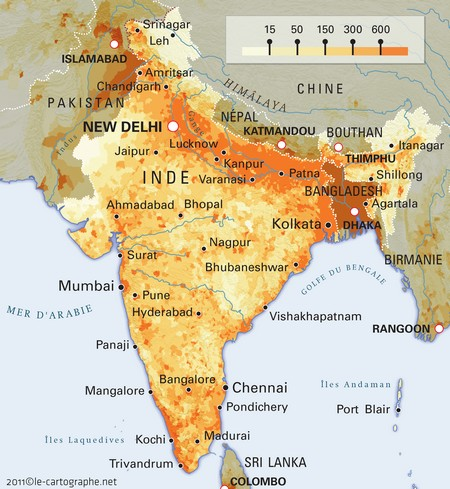 Map of population density in India per km ².