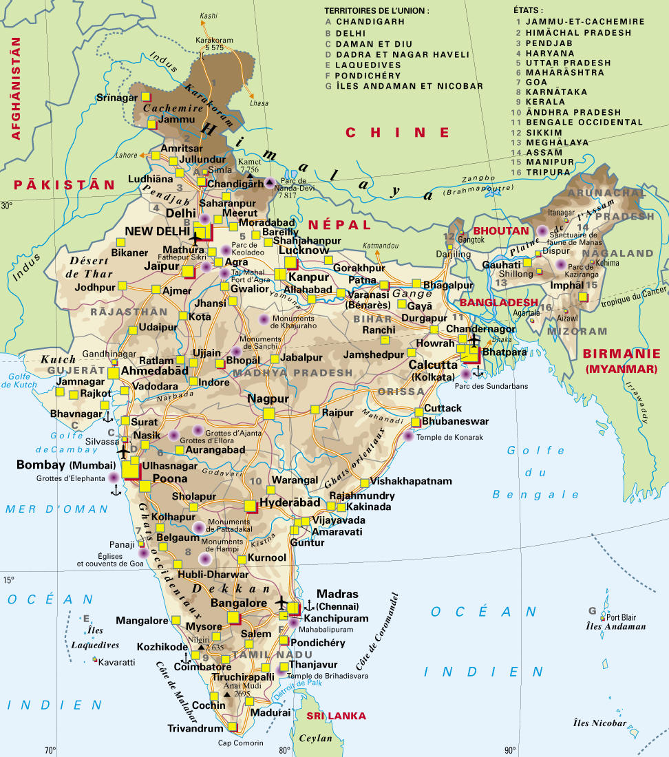 carte de l inde avec les villes .Mappi.: Maps of countries : India
