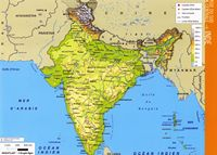 Large map of India with altitude in color.
