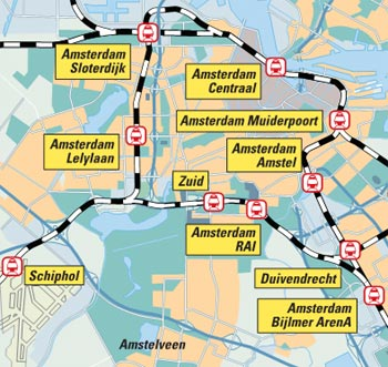 Map of train stations in and around Amsterdam.