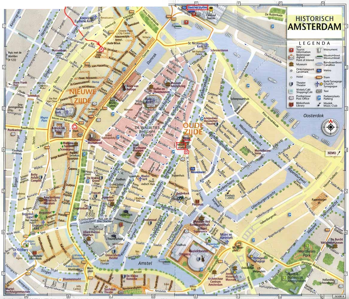 Tourist map of center of Amsterdam with museums, theaters, the libraries.