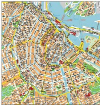 Detailed map of Amsterdam city center with the names of streets and parks.