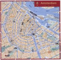 Large map of Amsterdam with the monuments.