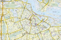 Detailed map of Amsterdam with street names.