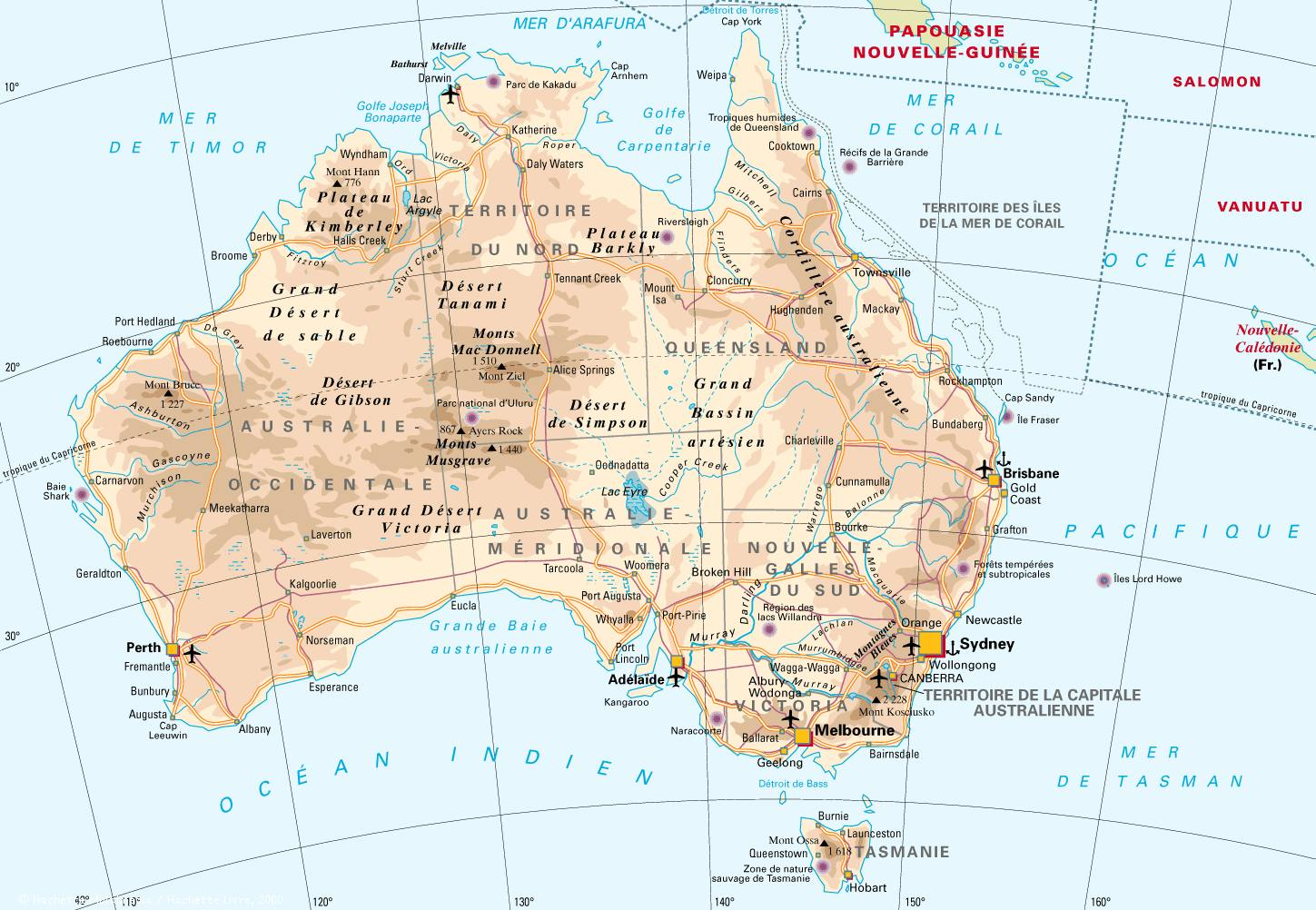 Australia map with cities, airports, ports and relief.