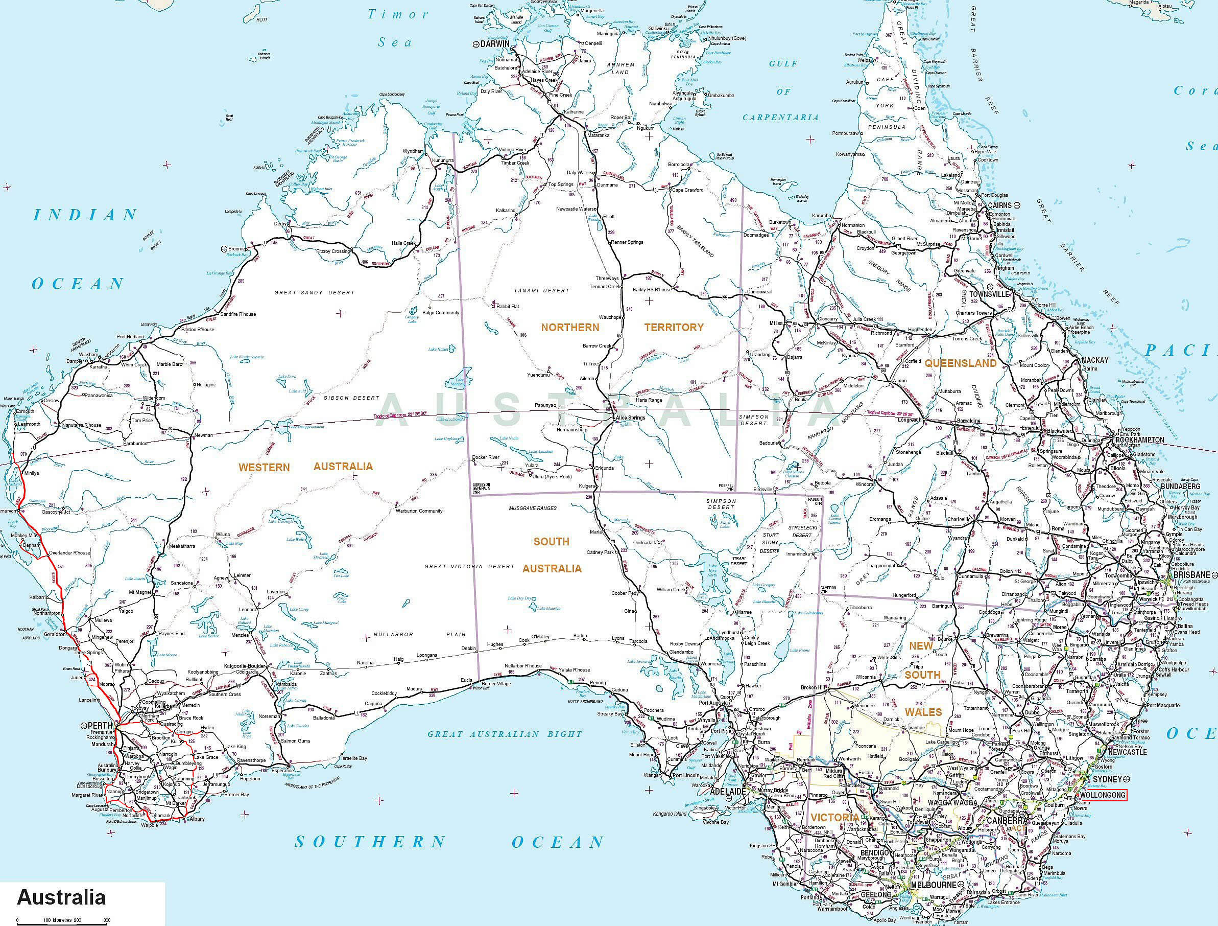 Australia Map Kilometers.Www Mappi Net Maps Of Countries Australia