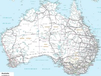 Large map of Australia with roads and distances between cities.