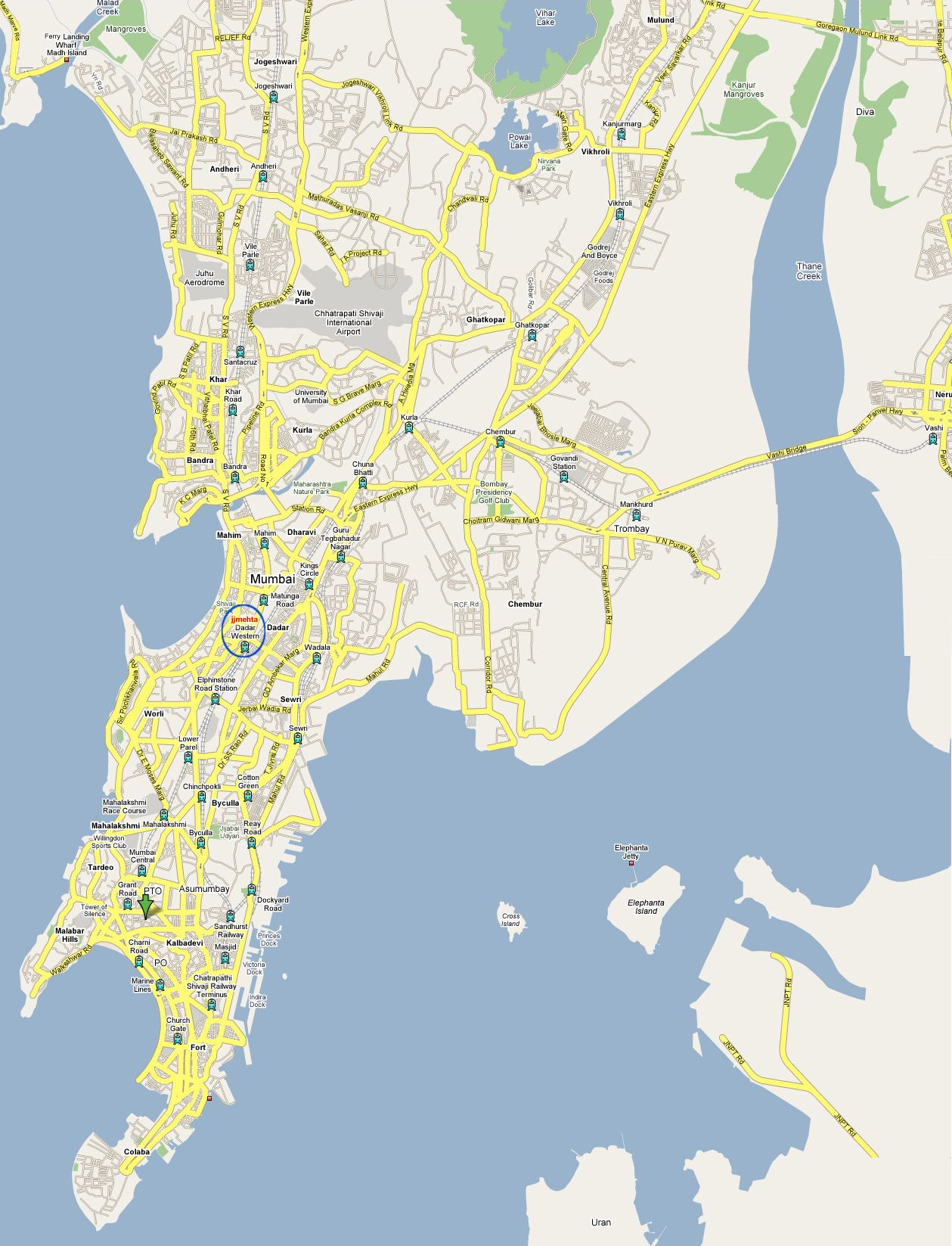 Map of parks, lakes, mangroves and museums of Bombay (Mambai).