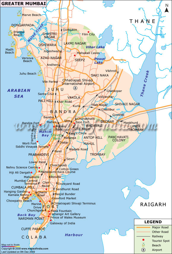 Map of the beaches, sightseeing and aéoroports Bombay (Mumbai).