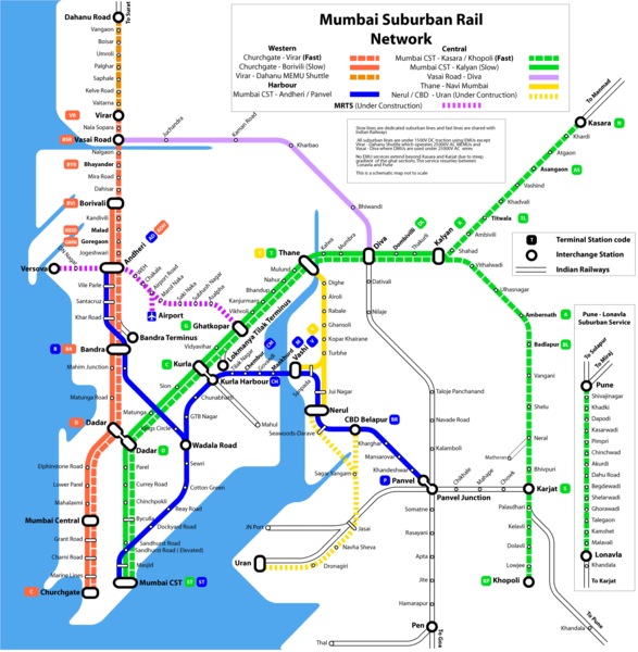 Metro map of Bombay (Mumbai).