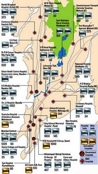 Map of Hospitals in Bombay Mumbai with the number and type of bed, hospital bed or mattress.