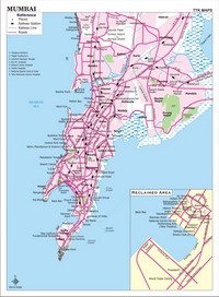 Map of Bombay (Mumbai) stations, railways, roads and squares.
