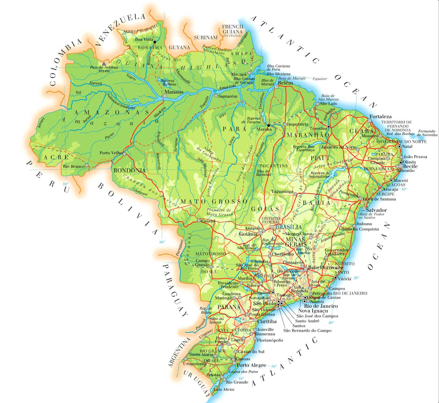 WwwMappinet Maps Of Countries Brazil - Brazil states map