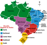 Map of the major regions of Brazil and states of each region.