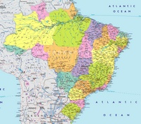 Large map of Brazil with small towns and small rivers.