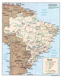Large map of Brazil with the cities, the capitals of each state, roads and railways.