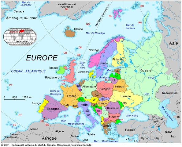 Map of cities in Europe and neighboring countries.