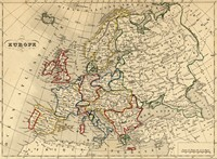 Map of Europe in the year 1843.
