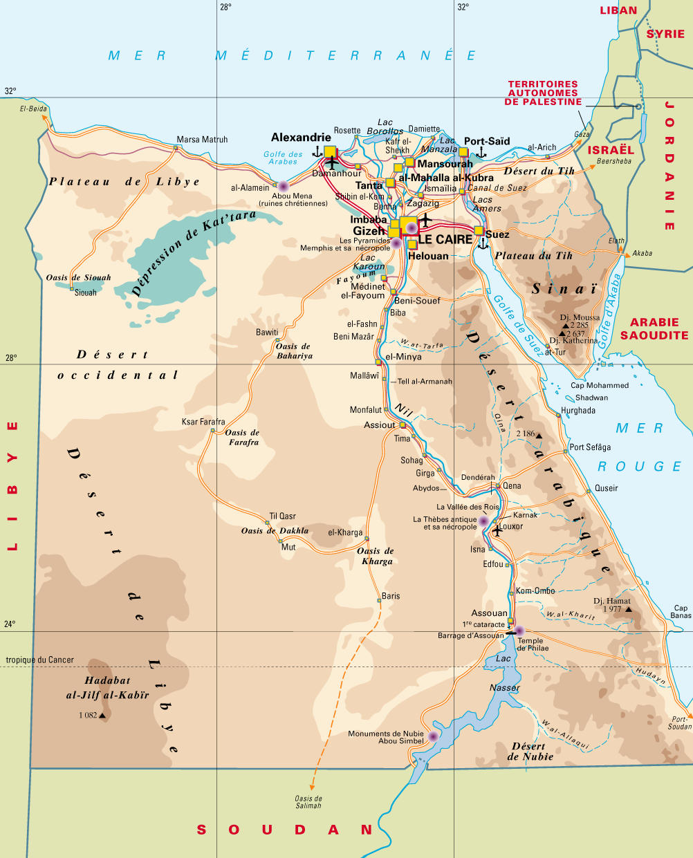 Detailed map of aéoroports and deserts of Egypt.