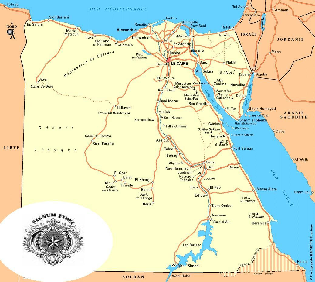 Road map of Egypt.