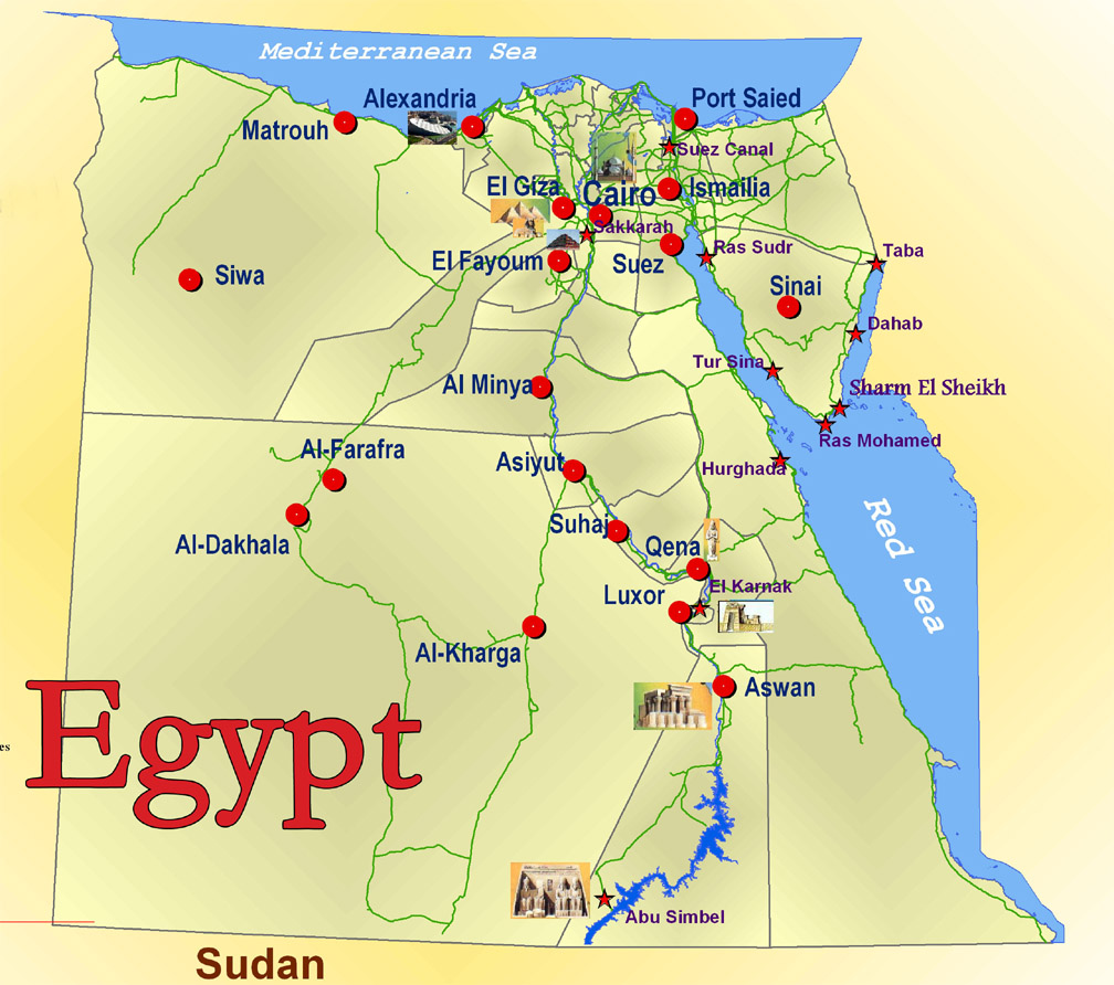 Map of Egypt cruises.