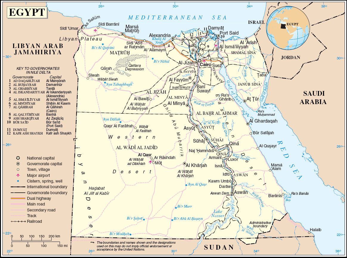 Large map of Egypt with the cities.