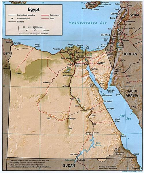 Road and railway map of Egypt.